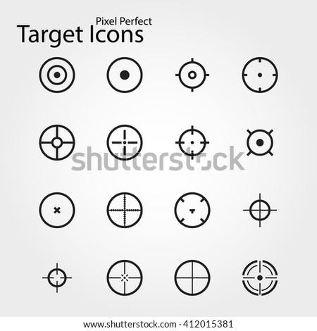 target icons, pixel prefect  - stock vector