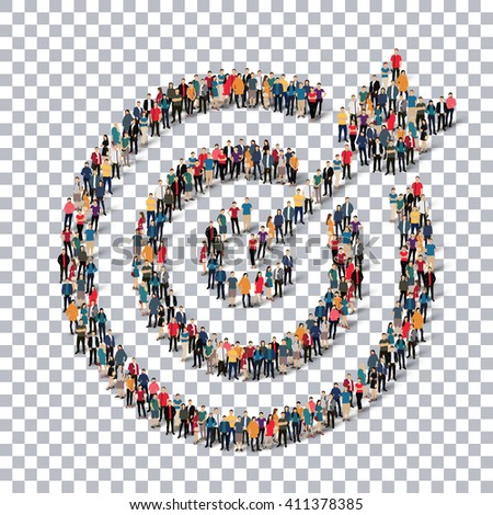 target people sign 3d - stock vector