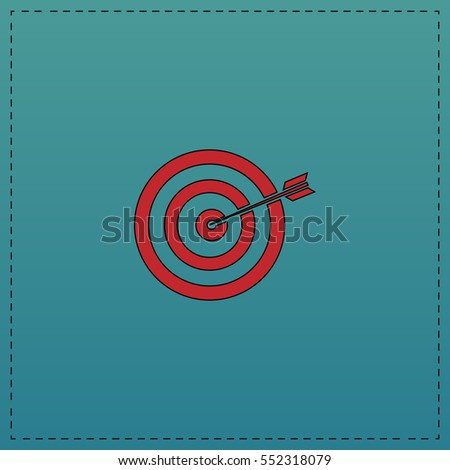target Red vector icon with black contour line. Flat computer symbol on blue background