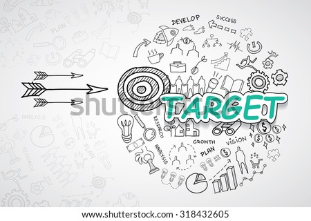 Target text, With creative drawing charts and graphs business success strategy plan idea, Inspiration concept modern design template workflow layout, diagram, step up options, Vector illustration - stock vector