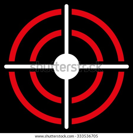Target vector icon. Style is bicolor flat symbol, red and white colors, rounded angles, black background. - stock vector