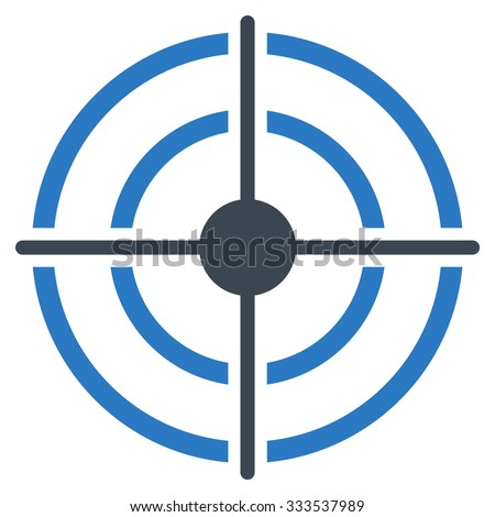 Target vector icon. Style is bicolor flat symbol, smooth blue colors, rounded angles, white background. - stock vector