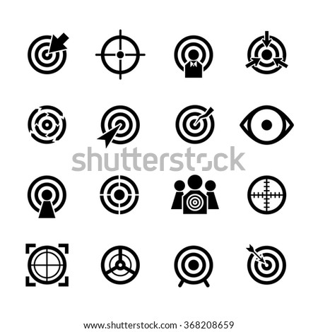Target vector icons set. Business or sport aim, aiming goal, focus success illustration - stock vector