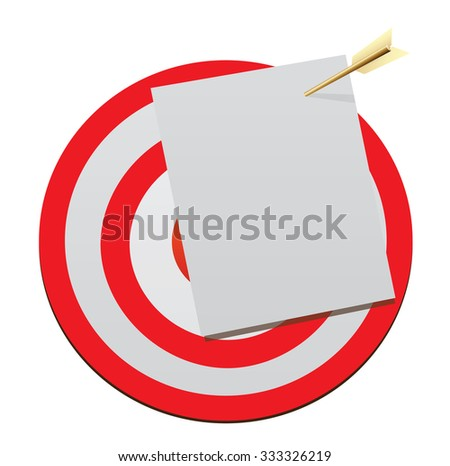Target with a blank sheet of notebook and gold arrow - stock vector