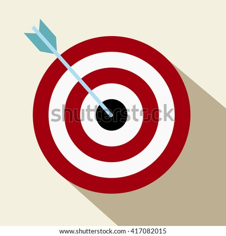 Target with an arrow flat icon Concept target market .Goal icon vector.Target Icon Vector. Target Icon Picture. Target Icon Image. Target Icon Graphic. Target Icon Target Icon AI. Target Icon Drawing - stock vector