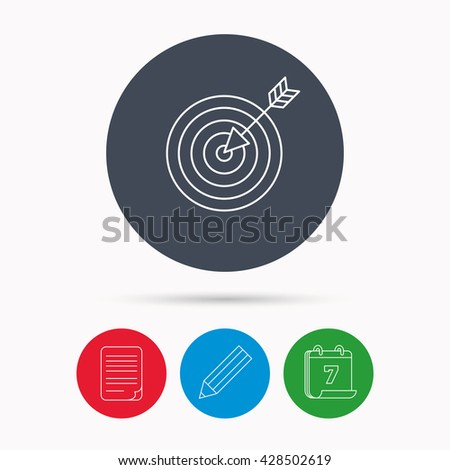 Target with arrow icon. Dart aim sign. Calendar, pencil or edit and document file signs. Vector - stock vector