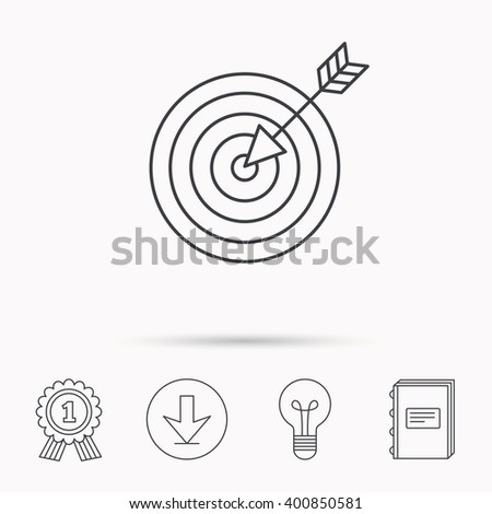 Target with arrow icon. Dart aim sign. Download arrow, lamp, learn book and award medal icons. - stock vector