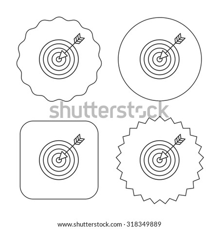 Target with arrow icon. Dart aim sign. Flat circle, star and emblem buttons. Labels design. Vector - stock vector