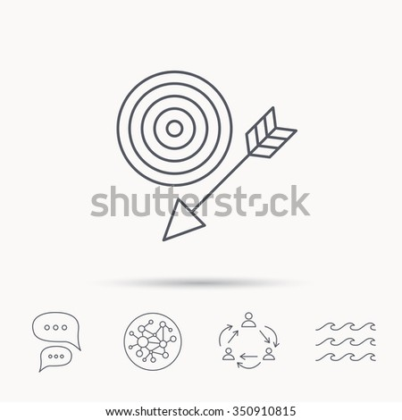 Target with arrow icon. Dart aim sign. Global connect network, ocean wave and chat dialog icons. Teamwork symbol. - stock vector