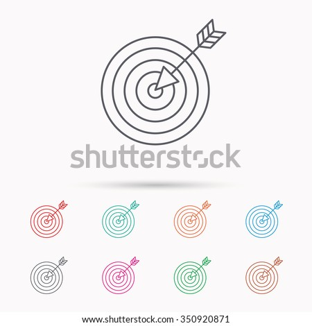 Target with arrow icon. Dart aim sign. Linear icons on white background. - stock vector