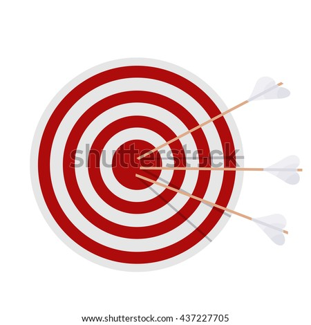 Target with arrows on white background. Cartoon illustration of a target, which was struck 