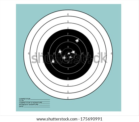 Target with bullet holes - stock vector