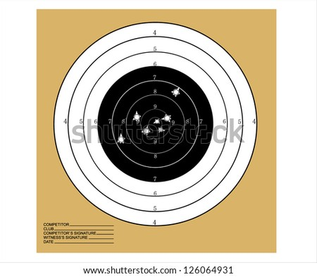 Target with bullet holes over grunge background - stock vector
