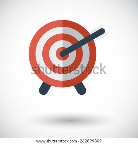 Target with dart. Single flat icon on white background. Vector illustration. - stock vector