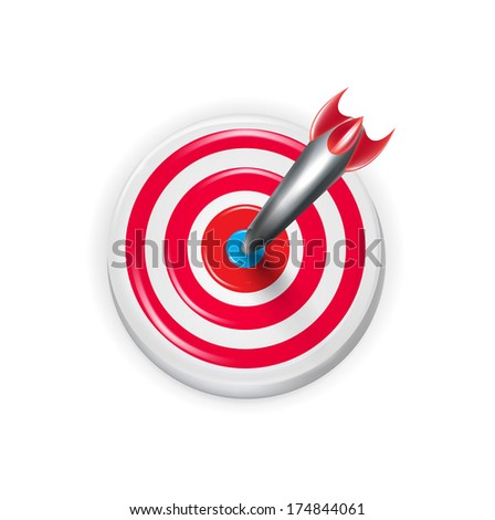 target with darts aiming on the center isolated on white