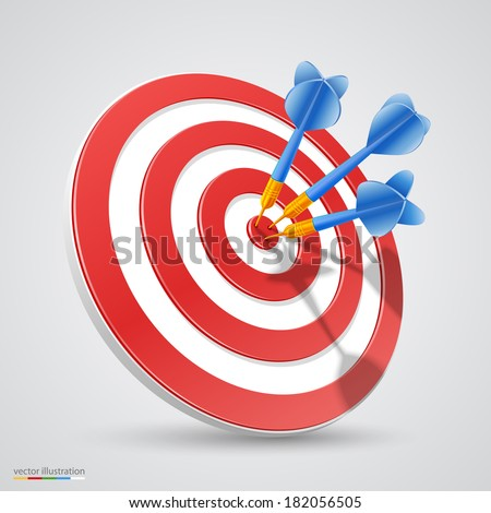 Target with darts, Target 3d icon, Vector illustration - stock vector