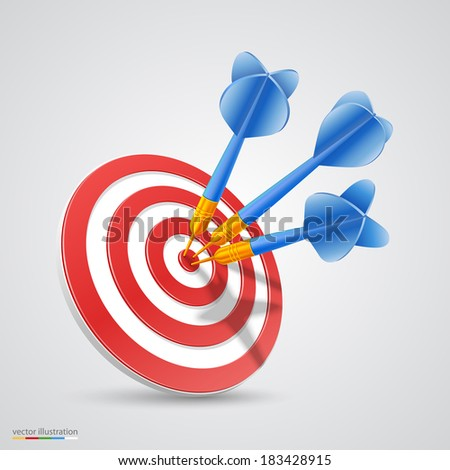 Target with darts. Vector - stock vector