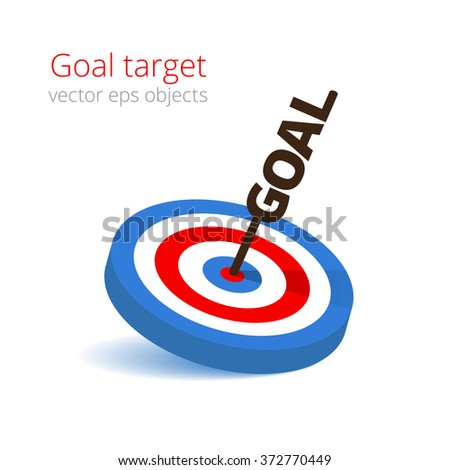 Target with goal arrow. Vector object isolated on white background