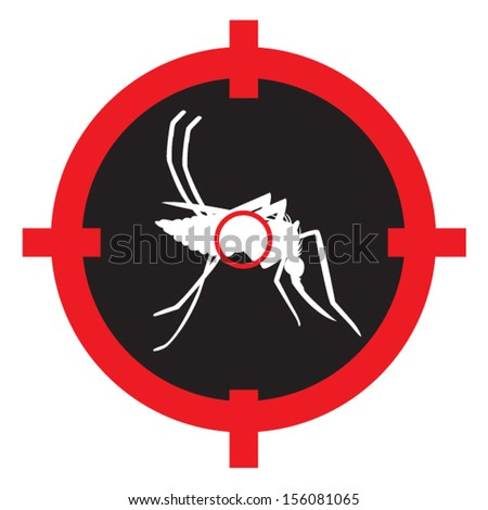 Targeting a Mosquito in the Dark. Isolated on white and can be Edited.  - stock vector