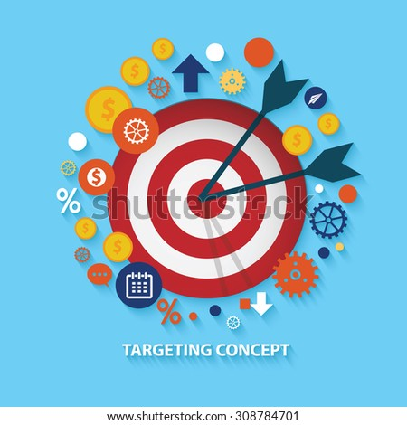 Targeting concept design on blue background,clean vector - stock vector
