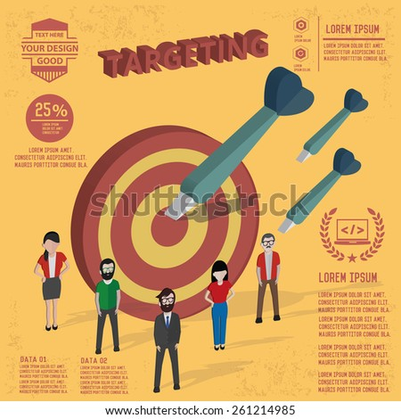 Targeting design,and character concept,clean vector - stock vector