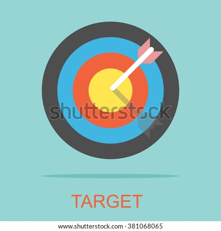 Targeting sign. Target Strategy Achievement Success, Flat design for business financial marketing banking commercial advertising e-commerce shopping minimal concept cartoon illustration. - stock vector