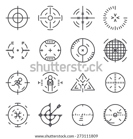 Targets collection. Circle aim, vector icon, cross and sniper, goal and success