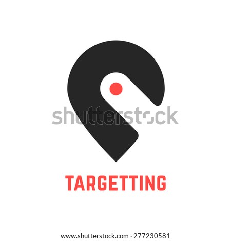targetting sign with pin like hook. concept of cartography, navigate, geotagging, mapping, landmark, geography. isolated on white background. flat style modern brand design vector illustration - stock vector