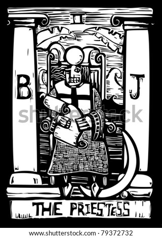 Tarot card for number three the Priestess. - stock vector