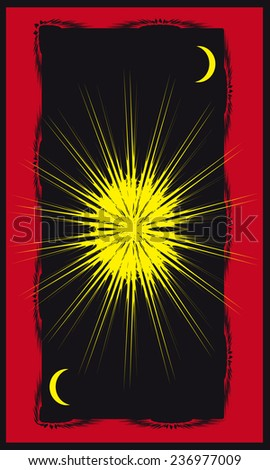 Tarot cards - back design. Sun - stock vector