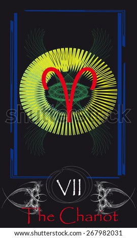 Tarot cards. Major Arcana. The Chariot - stock vector