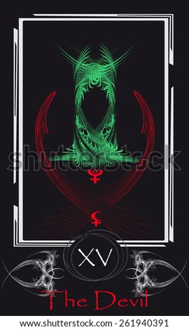 Tarot cards. Major Arcana. The Devil - stock vector
