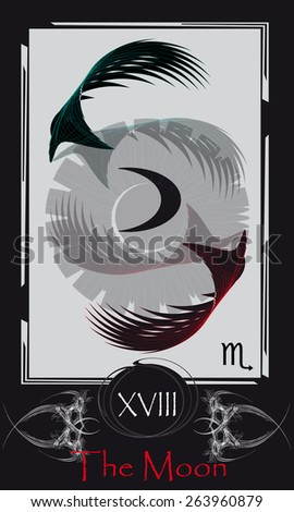 Tarot cards. Major Arcana. The Moon - stock vector
