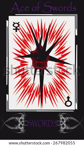 Tarot cards. Minor Arcana. Ace of Swords - stock vector