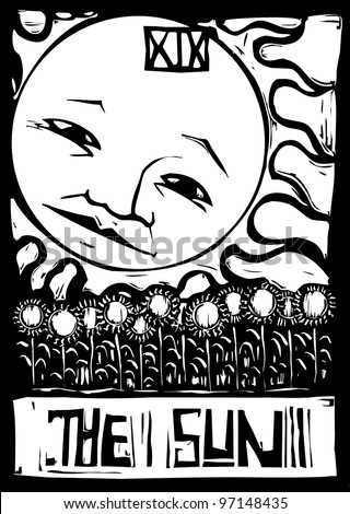 Tarot number nineteen the sun with face and sunflowers. - stock vector