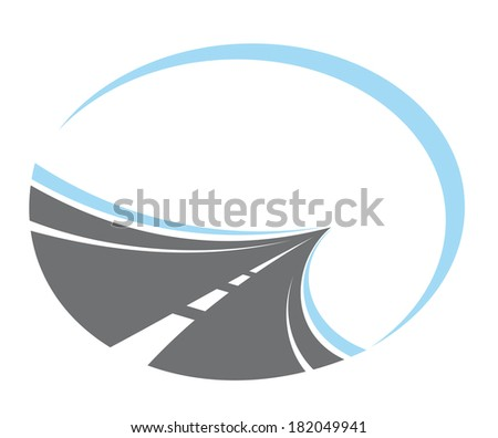 Tarred road logo with center lines disappearing to infinity in a receding perspective, cartoon  illustration - stock vector