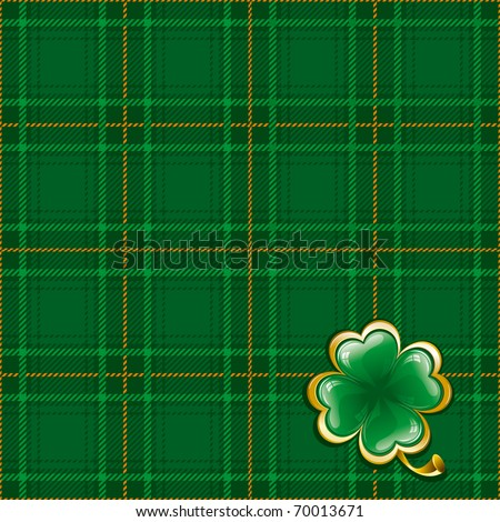 Tartan ornate background to St. Patrick's Day with glossy clover - stock vector