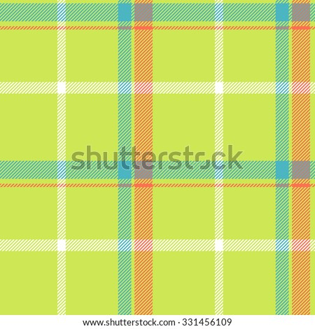Tartan pattern. Scottish traditional fabric seamless vector. Colorful green, blue, yellow and white. Suitable for children, decoration, home, design, concept, clothing, handicraft & scrap booking. - stock vector