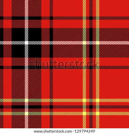 Tartan traditional checkered british fabric seamless pattern, black and red, vector - stock vector
