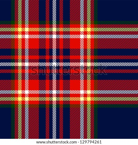 Tartan traditional checkered british fabric seamless pattern, blue and red, vector - stock vector
