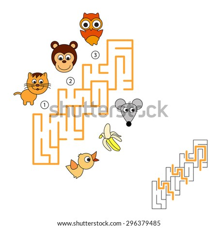 Task and answer. Game for children. Search and choose correct path through maze. - stock vector