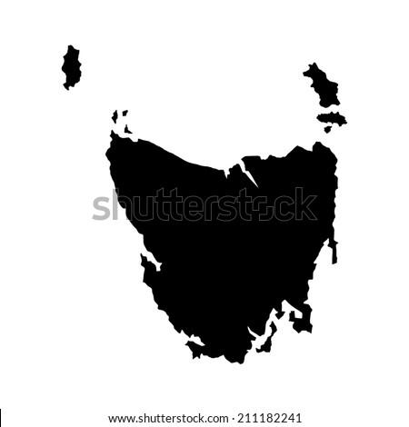 Tasmania Australian state vector map high detailed silhouette illustration isolated on white background. - stock vector