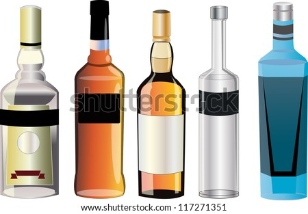 Taste of different alcohol - stock vector