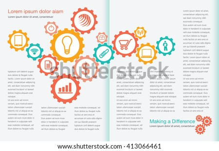 Tasteful Two Page Spread Layout Template  for Print or Web  - stock vector
