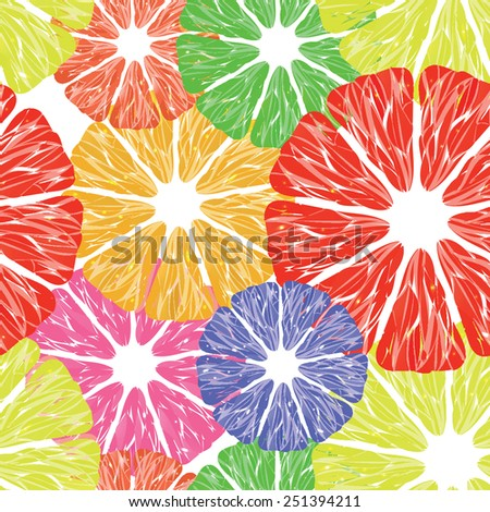 Tasty and Bright Seamless Pattern with Citrus Fruit, Vector - stock vector