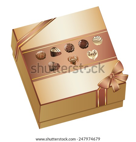 Tasty assorted chocolate candy in a box with bow. - stock vector