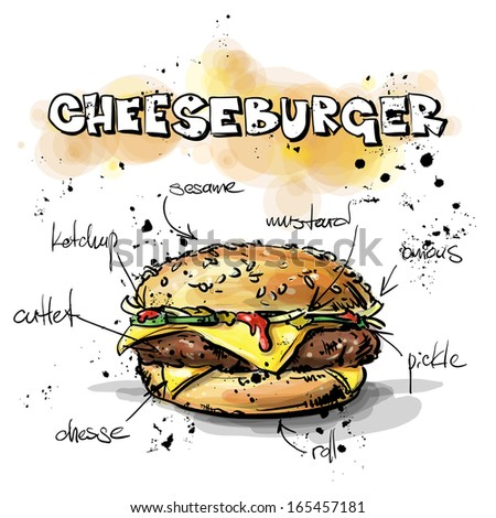 Tasty burger. Sketch + watercolor style. Vector collection. - stock vector