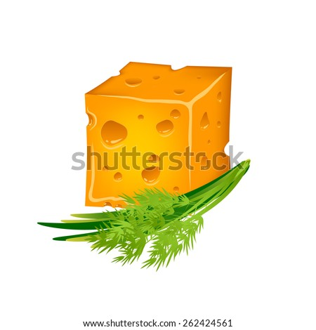 tasty cheese with herbs - stock vector