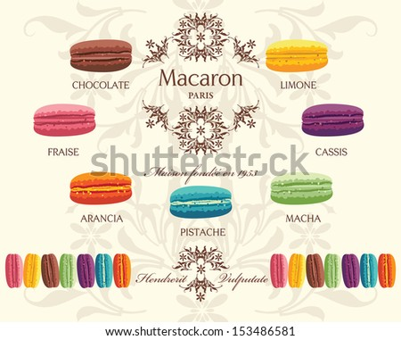 Tasty colorful french macaron - stock vector