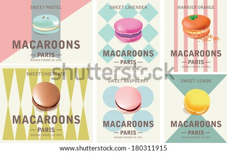 Tasty Colorful Vector Macaroon Elements - stock vector
